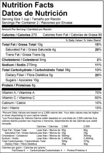 US Bilingual Nutrition Facts Label