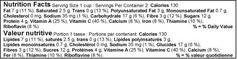 Bilingual Canada Linear Nutrition Facts Label