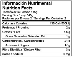 Mexico Standard Bilingual Nutrition Facts Label