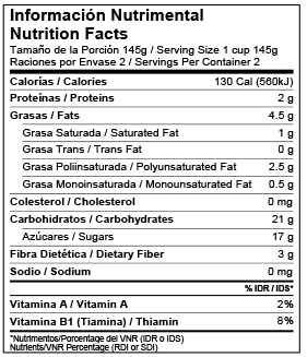 Mexico Bilingual Nutrition Facts Label Template Voluntary Nutrients