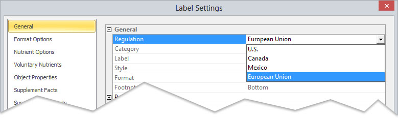 European Union Nutrition Labelling Software