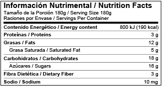 Bilingual Nutrition Information Label