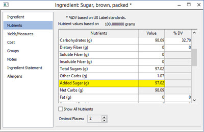 Added Sugars Nutrition Information