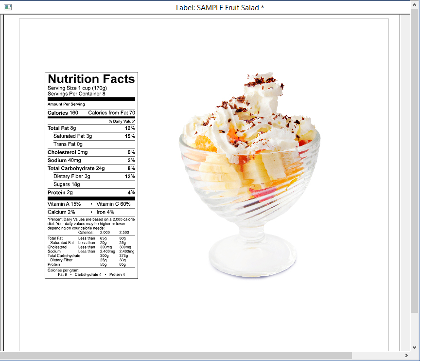 Nutrition Facts Label Software