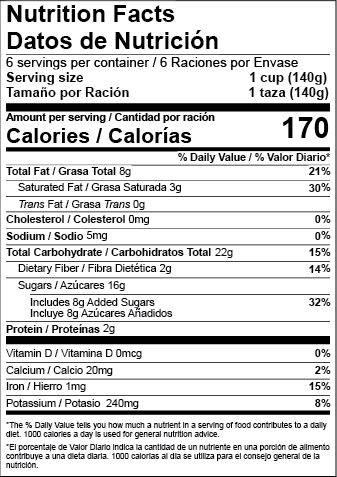 US FDA Child Bilingual Nutrition Facts Labels