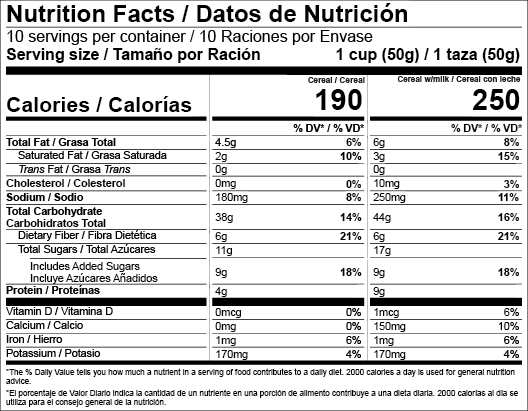 US FDA Dual Column Bilingual Nutrition Facts Label