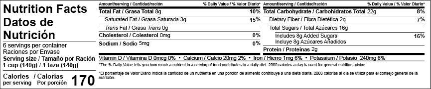 US FDA Bilingual Tabular Nutrition Facts Label Template