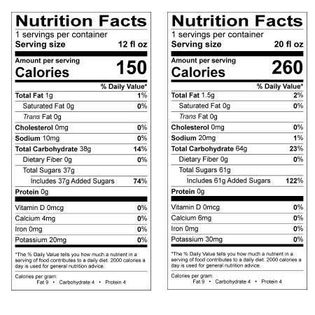 Single Serving Container Nutrition Facts Label