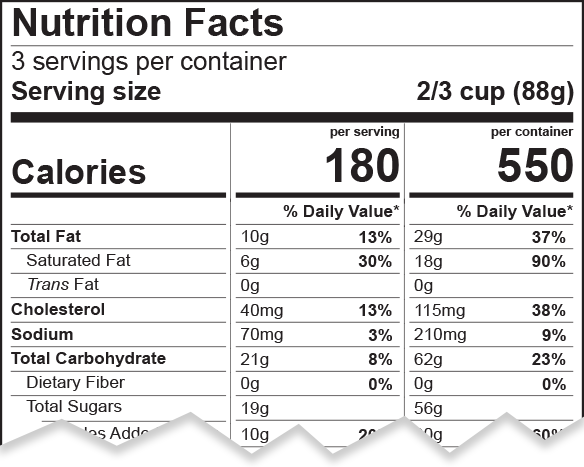 Dual column label for per serving and per container