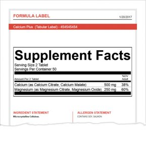 Supplement Formulation Software Reports