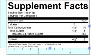 Supplement Facts Label with Added Sugars