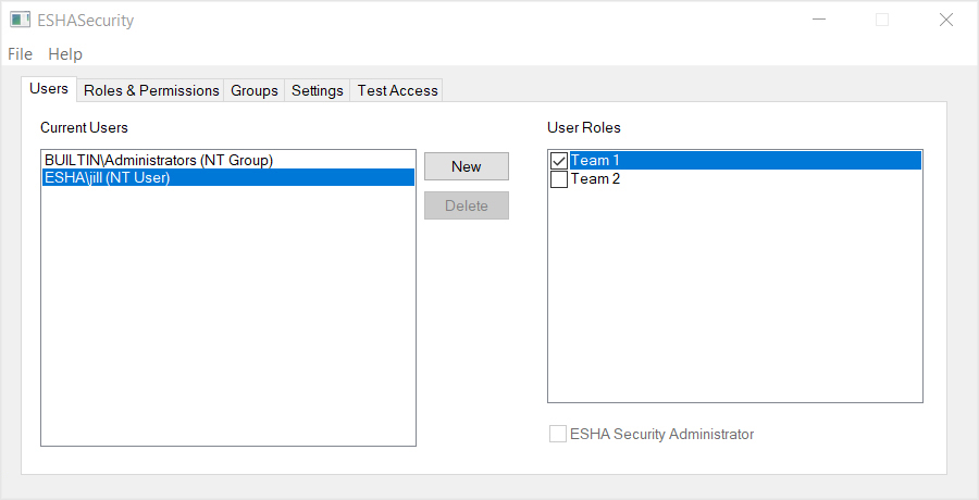 ESHA Security User Roles Assignment