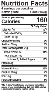 food product package nutrition facts label