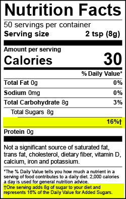 Nutrition Label - No Added Sugar line