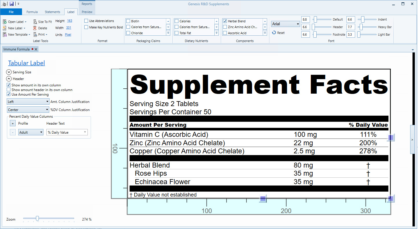 Genesis R&D Supplements software with Supplement Fact label