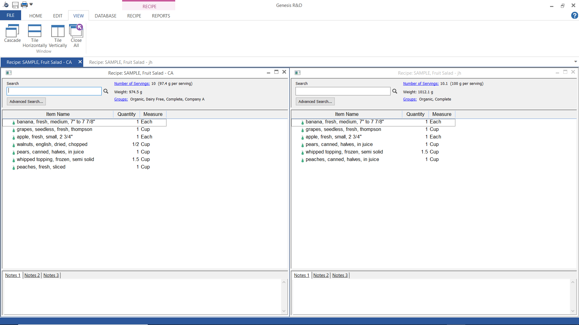 View two recipes side-by-side in Genesis R&D