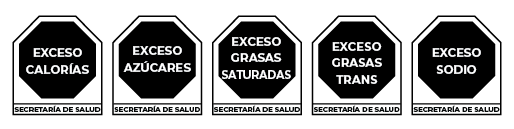 These are the octagon-shaped warning symbols used on food packages in Mexico to warn consumers when certain nutrients exceed recommended thresholds.