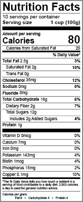 U.S. rules nutrition facts panel