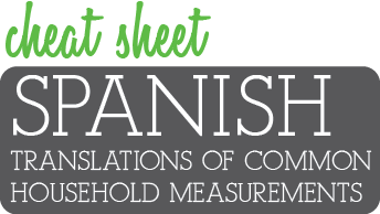 Spanish Translations of Common Household Measurements